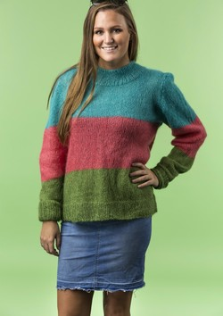 Trefarvet sweater