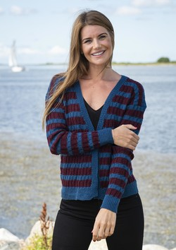 Stribet cardigan