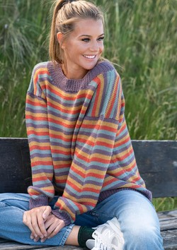 Firefarvet stribet sweater